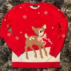 Ladies ugly cute deer Christmas sweater sz large